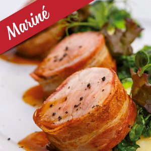 Tournedos/Bacon mariné (érable, poivre, chipotle) de dinde
